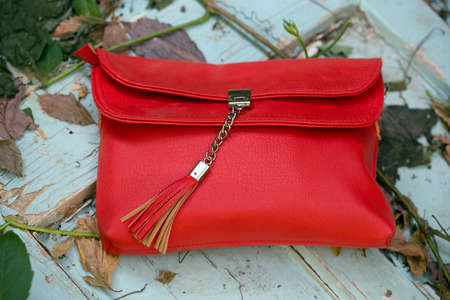 color: klutch - small red handbag on a on a wooden background with leaves  background Stock Photo