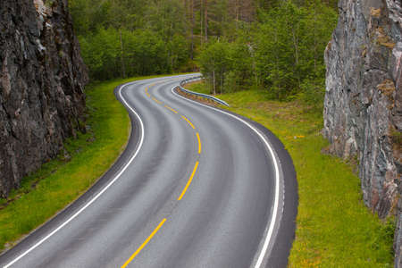 norwegian: beautiful windy road at the norwegian mountains