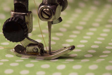 sewing cotton: sewing machine - sewing process in the phase of sewing