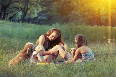 female child: family on the picnic at the forest Stock Photo