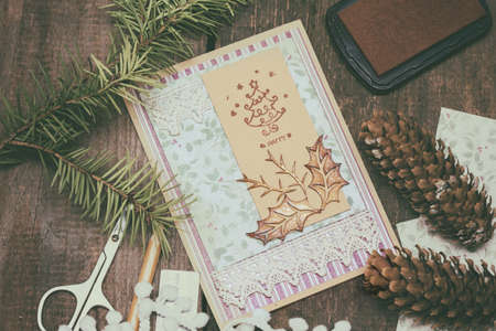 christmas element: scrapbook background. christmas card and tools with decoration