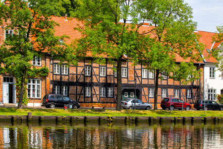 trave: houses on the bank of the river Trave, Lubeck