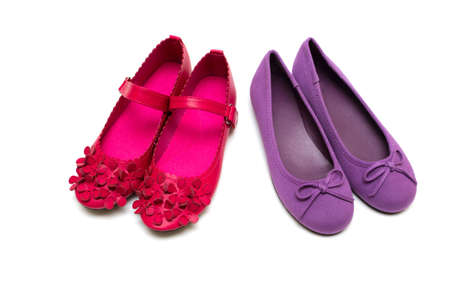 purple shoes: Childrens bright purple and pink shoes on a white background