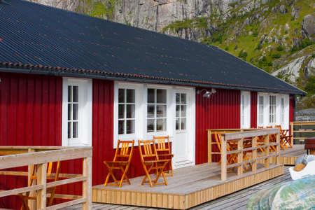 poling: wooden house at the Lofoten archipelago, Reine, norway