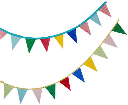 bunting: high resolution birthday holidays flags isolated on a white