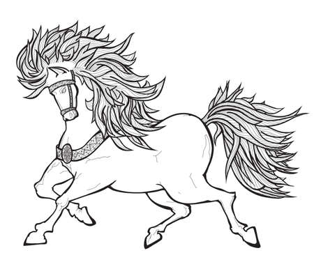 tribal animals: fairy horse outline black and white picture