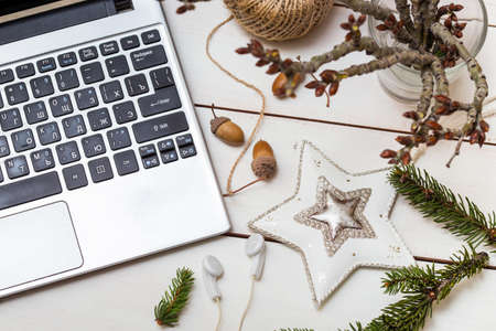 christmas decor: Work and holiday - laptop and Christmas decor