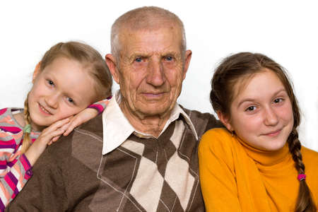grand child: portrait of a granddaughter and grandfathers, close-up Stock Photo