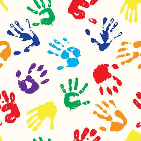 bambini: impronte multicolori con i colori dell'arcobaleno Vettoriali