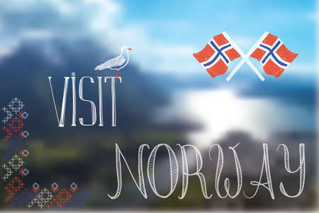 opacity: visit Norway sign illustration made with gradient mesh and opacity Illustration