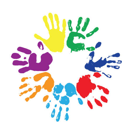 peace stamp: multicolored  fingerprints with the colors of rainbow Illustration