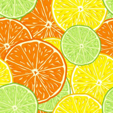 lime slice: orange, lemon and lime slice citrus seamless vector background