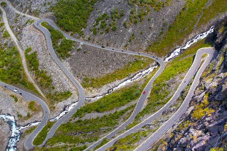 meandering: Trollstigeveien - meandering road at the norwegian mountains, Norway