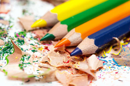 shavings: multicolored pencils and shavings on a paper