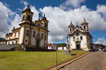 mariana: Church in the beautiful old town in colonial style  Mariana and  sky and clouds at background, Brazil