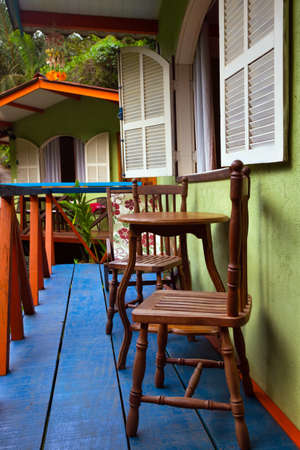 brasil: Brazil traditional house. table and chairs on the terrac. Brasil Stock Photo