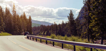 range of motion: road at the norwegian mountains, Norway Stock Photo
