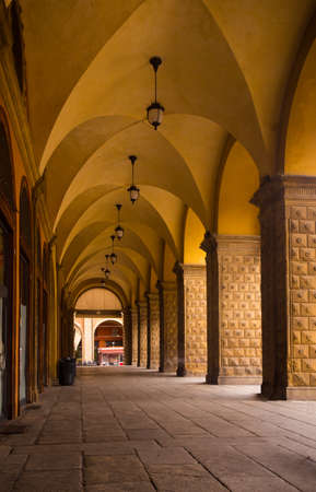 known: view of well known arches of Bologna, Italy Stock Photo