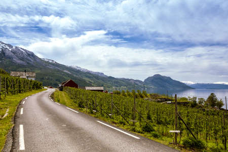 divide: road by the garden and the house red at the norwegian mountains, Norway Stock Photo