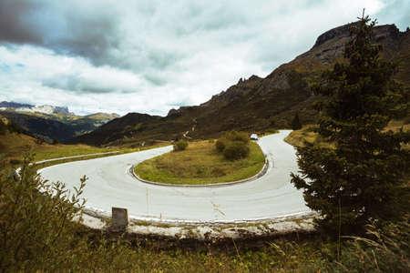 Passo Pordoi. Mountain road - serpentine in the mountains Dolomites, Italy Stock Photo