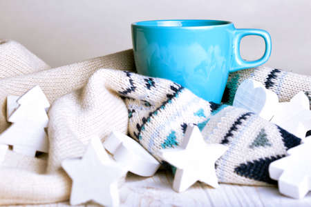 table scraps: cup of coffee and Christmas decorations Stock Photo