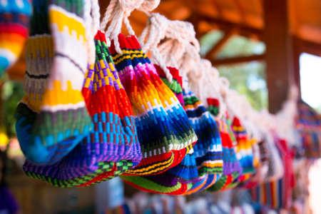 brazil and paraguay textiles souvenirs - bags, friendship bracelets, brasil Stock Photo