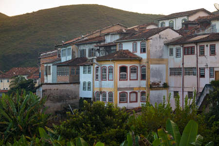 casa colonial: view of the house on the hill of the famous historical town Ouro Preto Minas Gerais Brazil