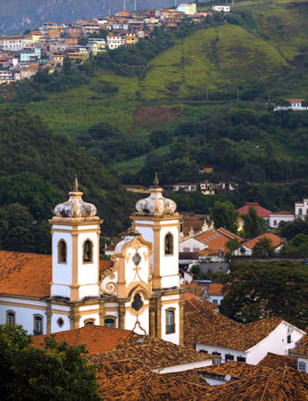colonial church: streets and the view of the church of the famous historical town Ouro Preto Minas Gerais Brazil