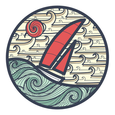 gale: abstract EPS 8 vector logo with sailboat on a waves of stormy ocean