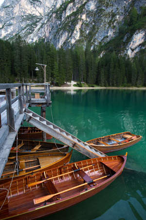 view of well-known tyrolean lake lago di Braies Dolomites Italy