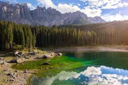 view of Lago di Carezza Dolomites Italy