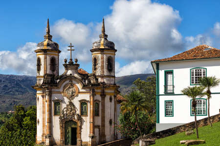 colonial church: streets of the famous historical town Ouro Preto Minas Gerais Brazil