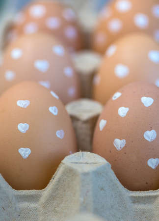 easter - eggs in the heart at a box Stock Photo