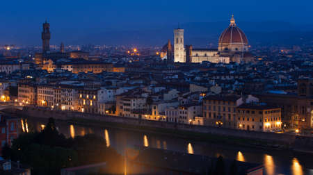 michelangelo: view of Florence at the evening time from the viewpoint.  province of Siena. Tuscany, Italy