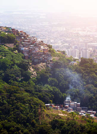 shantytown: view of favela on a hill of Rio de Janeiro Brazil Stock Photo
