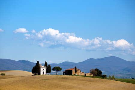 san quirico: View of the cappella di vitaleta. Tuscany, Italy Stock Photo