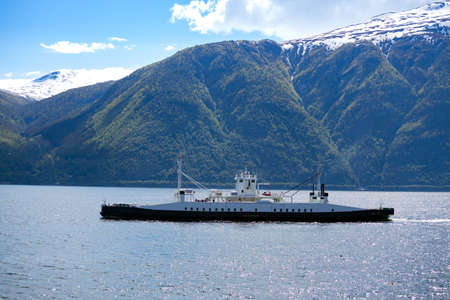 ferry on the fjord at the Norway Stock Photo