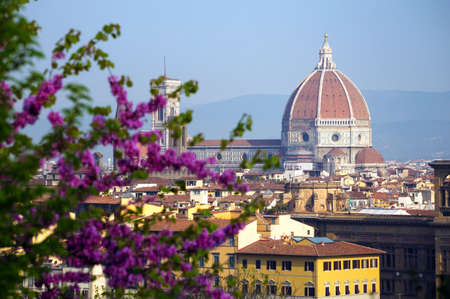view of Florence at the sunrise time from the viewpoint,  italy