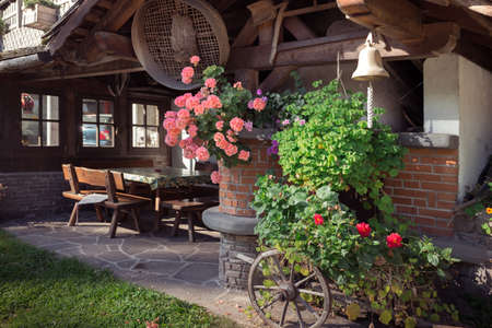 Canopy in the garden with vintage items Banco de Imagens
