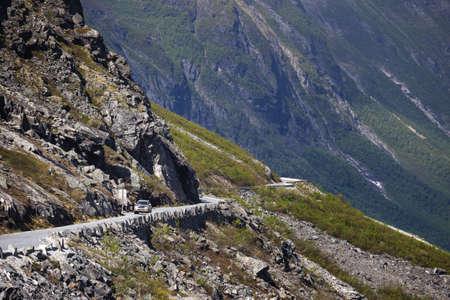 Trollstigeveien - meandering road at the norwegian mountains, Norway