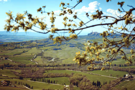 pienza: typical Tuscan landscape.View of the ancient city of Pienza. province of Siena. Tuscany, Italy