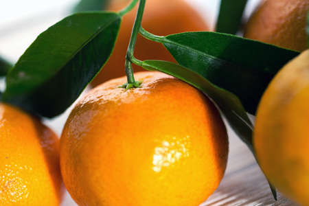 appetizing tangerines close-up  on the table  Stock Photo