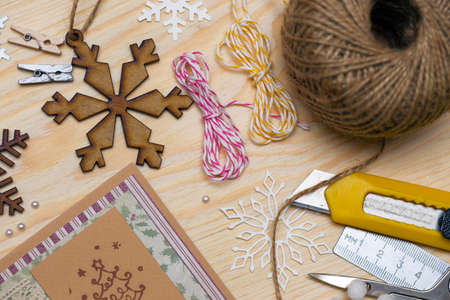 scrapbook background. christmas card and tools with decoration  写真素材
