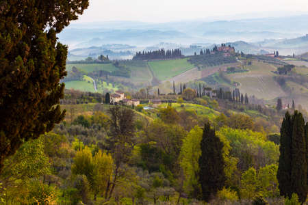 typical Tuscan landscape - a view of a villa on a hill, a cypress alley and a valley with vineyards, province of Siena. Tuscany, Italy