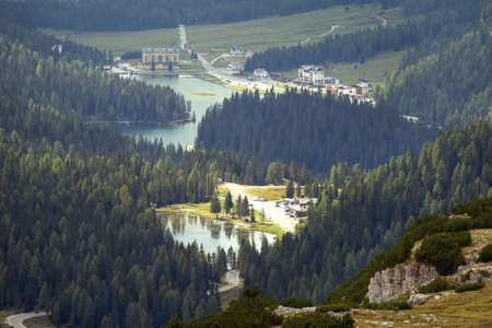 A view of the valley with lago misurina and lago Antorno  Dolomites, Italy. Stok Fotoğraf