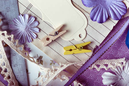 scrapbook background. tools with decoration   Stock Photo