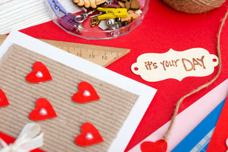 scrapbook background. Card and tools with decoration. valentine's day