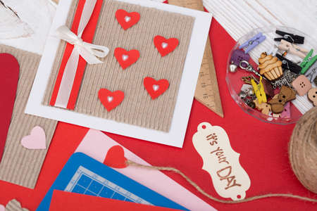 scrapbook background. Card and tools with decoration. valentines day