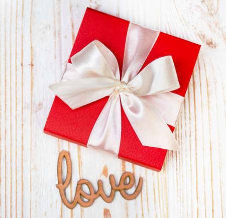 beautiful  gift for the day valentines day. red box and white bow