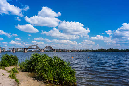view of the arch bridge in the city of the Dnipro